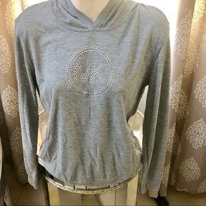 NWOT Michael Kors gray sequins logo hoodie shirt M
